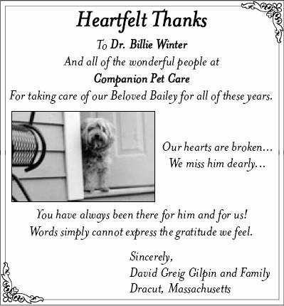 Thanks from the Gilpin Family
