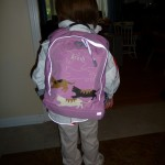 Wow, a backpack with my name!  Mom's on top of it this year!